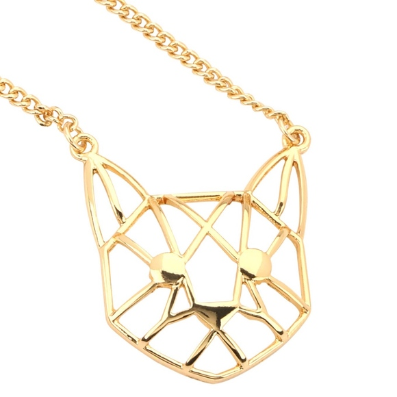 Kitty Cat Gold Geometric Necklace Boutique